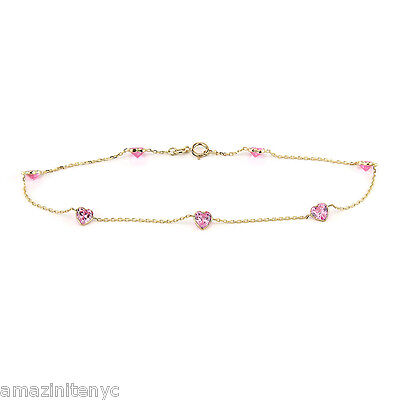 14K Yellow Gold Pink Heart Shaped Cubic Zirconia Anklet Bracelet 9 1/2""