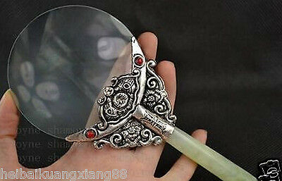 Old Chinese tibet silver and jade Magnifying Glass