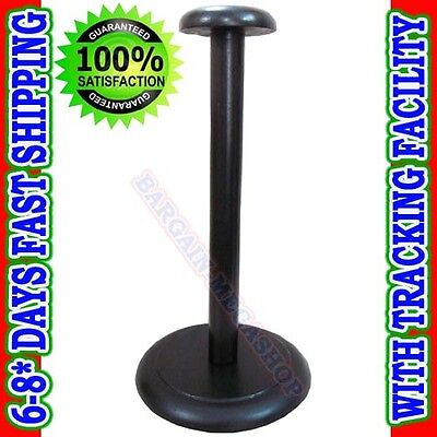 Wooden Helmet Stand Display Stand for Medieval Helmets - Foldable Black Stand
