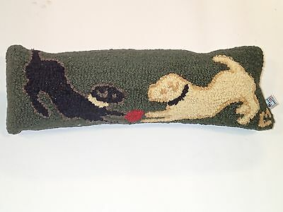 Hand Hook Pillow. Two Labs at Play