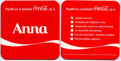 1 vintage coaster COCA COLA Share a Coke with name * ANNA * limited edition !!!