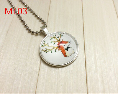 New charm Photo Elk Silver Color chain Glass Dome Pendants Necklaces #ML22