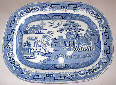 "Vintage Blue Willow 18"" Turkey Platter Stone China T-16 1900s England"
