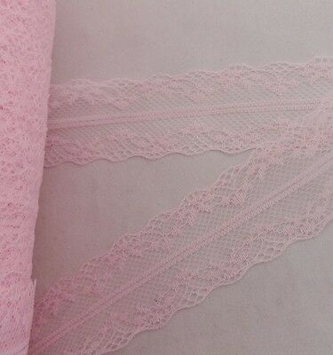 Wholesale 10 yards Pink Mesh embroidery lace ribbon  (3.5cm) wide      HB53