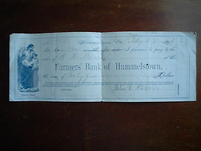 bank check from farmers bank of hummelstown pa