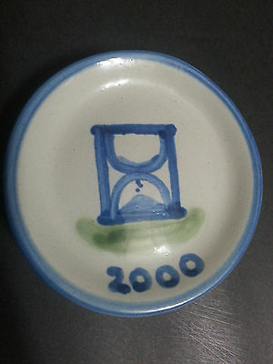 """M A Hadley 2000 Millenium Hourglass Pottery 4"""" Coaster Small Plate Trinket Dish"""