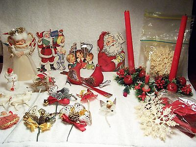 Lot Vintage Christmas! NEW OLD STOCK! Angel topper, flocked, cards, snowflakes!
