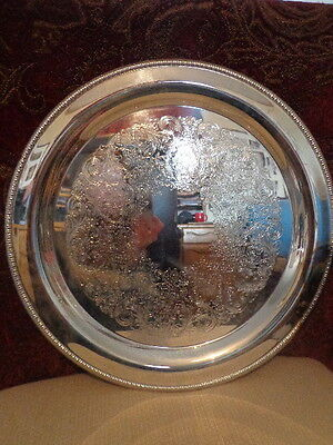 Vintage Silver Plate Round Flora & Pierced Tray Serving Platter ROGERS 4372