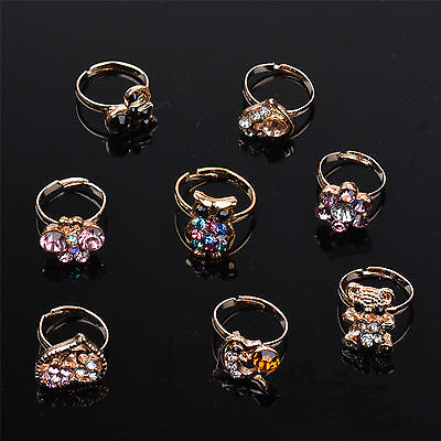 Wholesale Lot 20 PCS Gold Pld Mixed Cute Designs Crystal Kid's Rings Adjustable