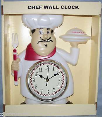 11 x 9 Fat Chef Clock Red White 12 Hr Display Chef's Kitchen Dinner is Ready NEW