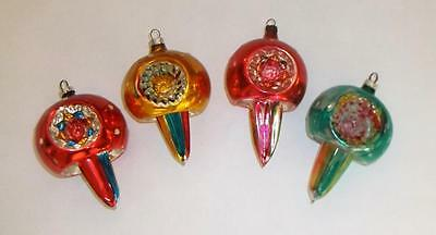 4 Vtg German Glass Xmas Ornaments...Hot Air Balloon West Germany...1 Unsilvered