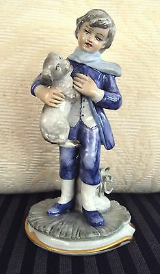 VINTAGE RARE CAPODIMONTE FLORENCE ITALY BOY WITH DOG  HAND PAINTED PORCELAIN