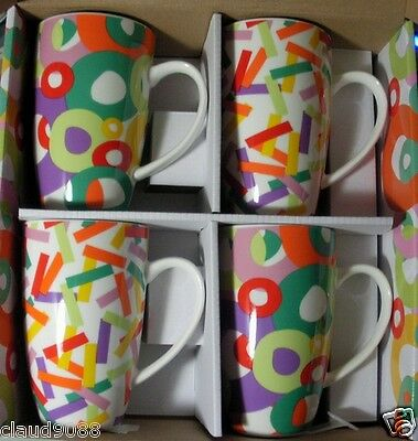 """Maxwell & Williams Set Of 4 Porcelain Mugs """"parade""""  Mint In Box  Xf138"""