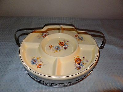 Homer Laughlin Royal Divided Server with Silver Colored Carrier