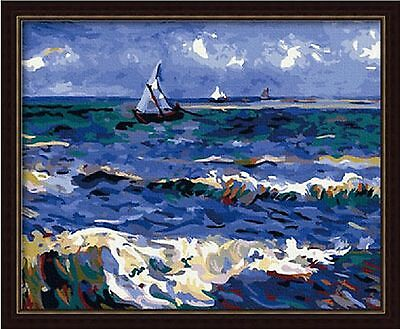 New Acrylic Paint by Number Kit, Van Gogh Saintes Ocean , With Assembled Frame