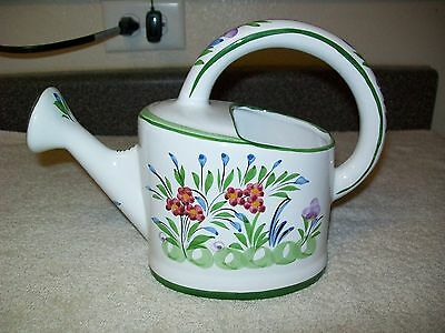Portugal Hand Painted Ceramic Pottery Watering Can Floral
