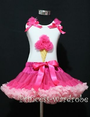 White Top Ice Cream Hot Light Pink Pettiskirt Girls Cloth Outfit Skirt Set 1-8Y