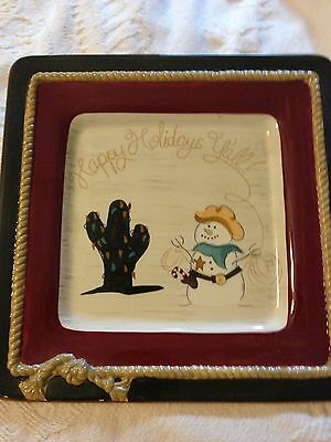 Sonoma HAPPY TRAILS HOLIDAY Western And Christmas PLATE
