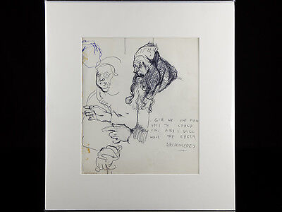 Robert Lenkiewicz Pen Drawing Study of Archimedes