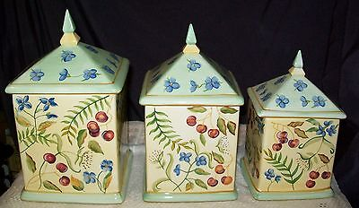 Capriware Handpainted Canisters  Set of 3 Steeple Tops Ceramic Garden Design