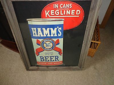 Vintage late 1930s Hamms beer cardboard display for the new use of cans