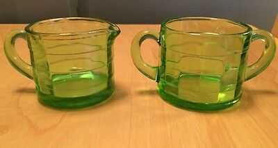 Anchor Hocking Block Optic Depression Glass Sugar & Creamer Bowls Green Vaseline