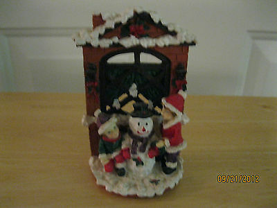 """VINTAGE CHRISTMAS CLAY KNICK KNACK WITH SNOWMAN AND 2 FIGURINES  4 1/2"""" TALL X 3"""