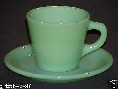 FIRE KING JADEITE G207 -7oz TAPERED CUP ~ G295 SAUCER HEAVY RESTAURANT WARE RARE