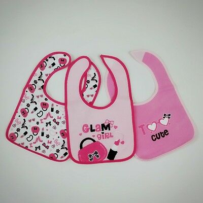 Pack Of 3 Baby Bibs One Size Machine Washable Cute Catchy Prints Boys Girls