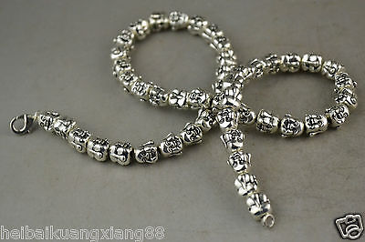 China Rare Old Decoration Miao Silver Carving Smile Buddha Noble Necklace