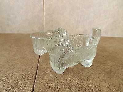 CLEAR GLASS SCOTTY DOG TOOTH PICK HOLDER