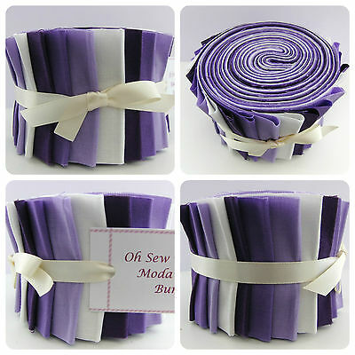 MODA Fabric Jelly Roll Strips 100% Cotton Patchwork Quilting Purple