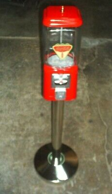 """VINTAGE- Coca Cola THEMED """"Oak"""" Candy / guumball Machine Glass with stand"""