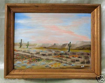oil painting on canvas panel desert landscape w vintage wood frame 15x19
