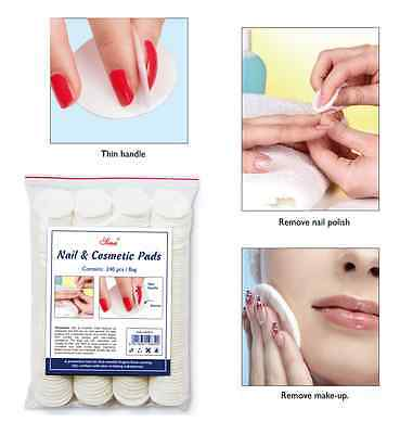 240Pcs Soft Round Cotton Pad With Handle For Cosmetic Makeup Nail Polish Removal