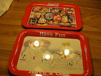 """2 Coca-Cola  Serving Trays, 2005 """"Let's Play"""" & 1998 multi-pictures"""