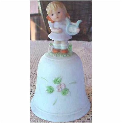 Vintage Retro Homco Porcelain Bisque Bell Girl with Harp #1416