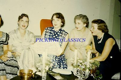 Vtg Red Border Kodachrome 1950's Women Partying A32
