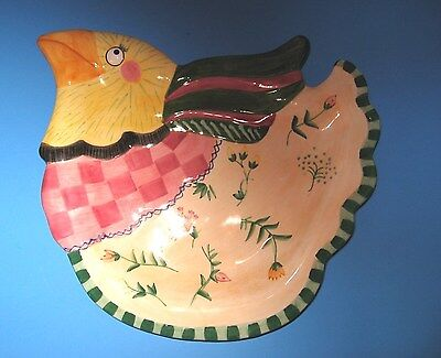 Fitz & Floyd  Gypsy Chicks Canape Plate,Dish  Rooster Chicken in Original Box