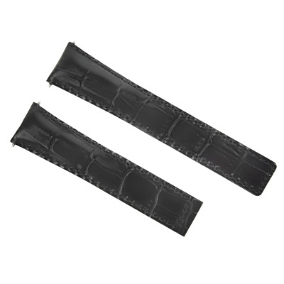 22Mm Leather Strap Band Deploy Clasp For Tag Heuer Carrera Calibre 1887 Black 3T