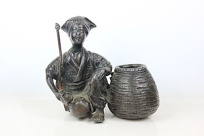 Antique Spelter Bronze Indian Cobra Snake Charmer Street Seller Figure C.1900