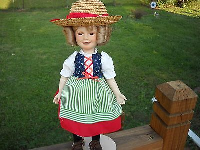 "DECORATIVE 14"" SHIRLEY TEMPLE DOLL WITH STRAW HAT FROM THE MOVIE HEIDI"