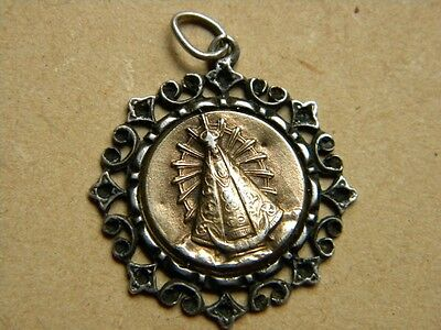 Antique Medal Sterling Silver Gold 18K Our Lady Lujan Open Work 1954