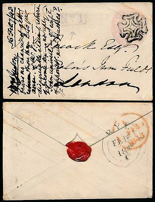 GB QV STATIONERY 1843 RYE No.1 RECEIVING OFFICE + SEAL