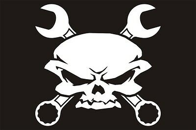 "Skull and Crossbones wrench Decal Large Vinyl window graphic sticker 11""x 9"""