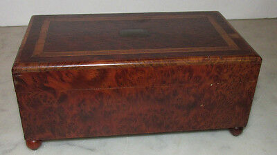 Antique Music Box Burl Wood  with Beautiful Inlay Burled