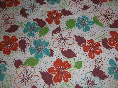 Vintage Full Opened Cotton Feedsack~34x42~Pretty Flowers&Tiny Dots