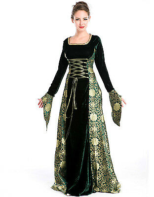 a8741458df MEDIEVAL-LARP-GOTHIC-COSPLAY-WICCA HIGH PRIESTESS GREEN Full Sleeved ...