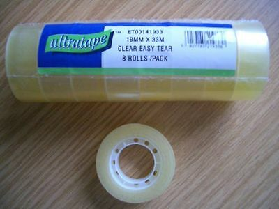 8 Rolls Sellotape Premium Easy Tear Clear Sticky Packaging Tape 19mm x 33m  New