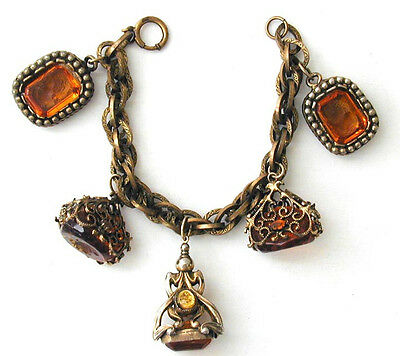 Chunky Amber Victorian Style Intaglio Glass Seal Fob Charm Bracelet